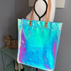 NWT J. Crew shimmer iridescent tote bag